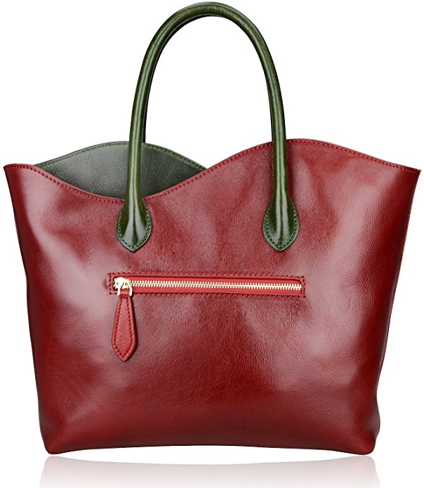 Red Flower Genuine Leather Shoulder Bag LH2341