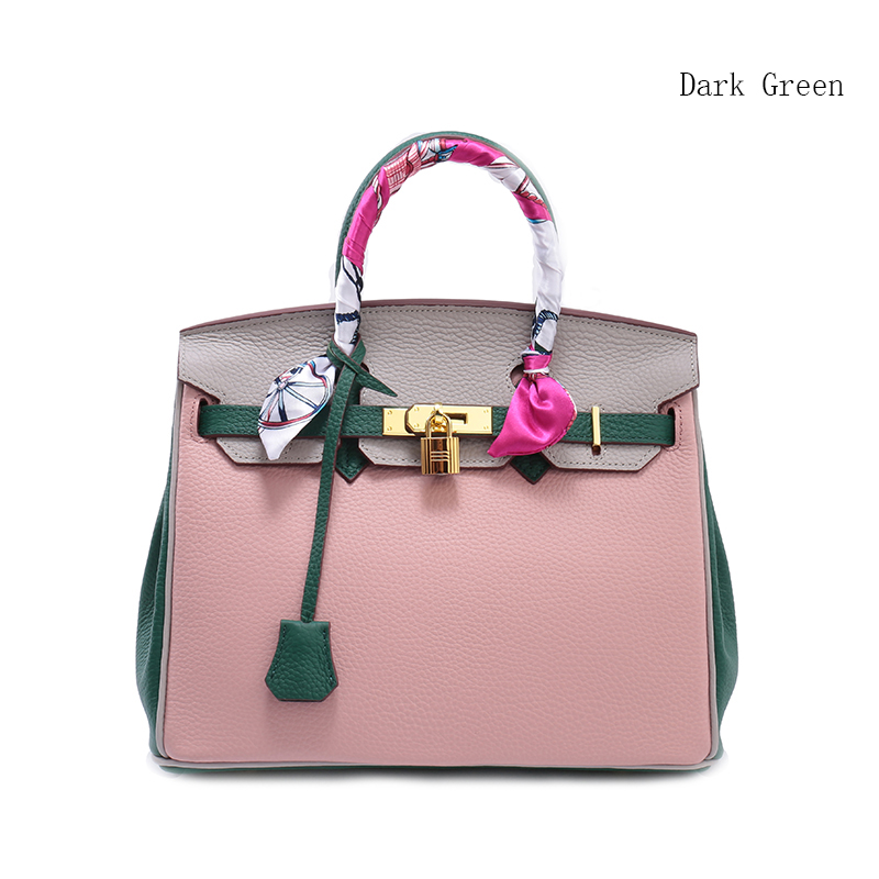 30cm Contrast Color Padlock Real Leather Tote LH1998M_4 Colors