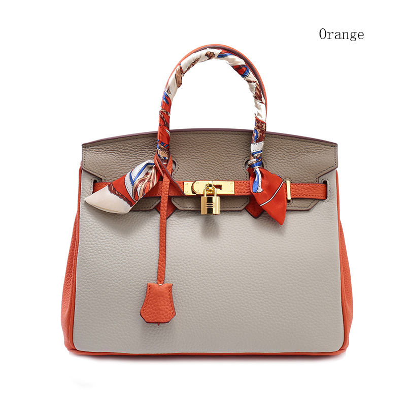 25cm Contrast Color Padlock Real Leather Tote LH1998S_4 Colors