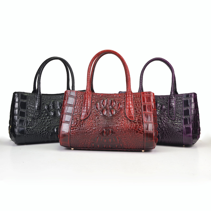 3-Sections Crocodile Pattern Leather Tote Bag LH2449_3 Colors