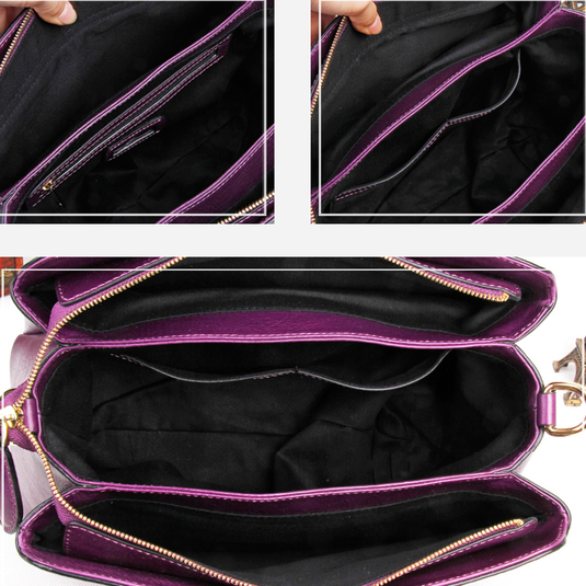 3 Sections Women Leather Top Handle Bag LH2491_4 Colors