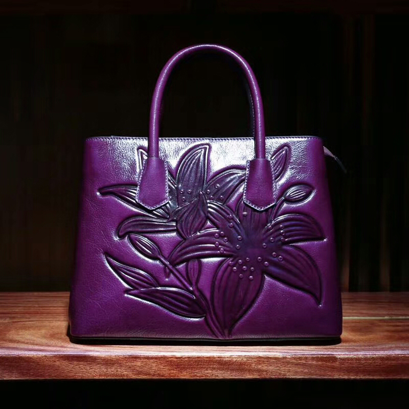 Lily Pattern Leather Tote LH1752B_4 Colors