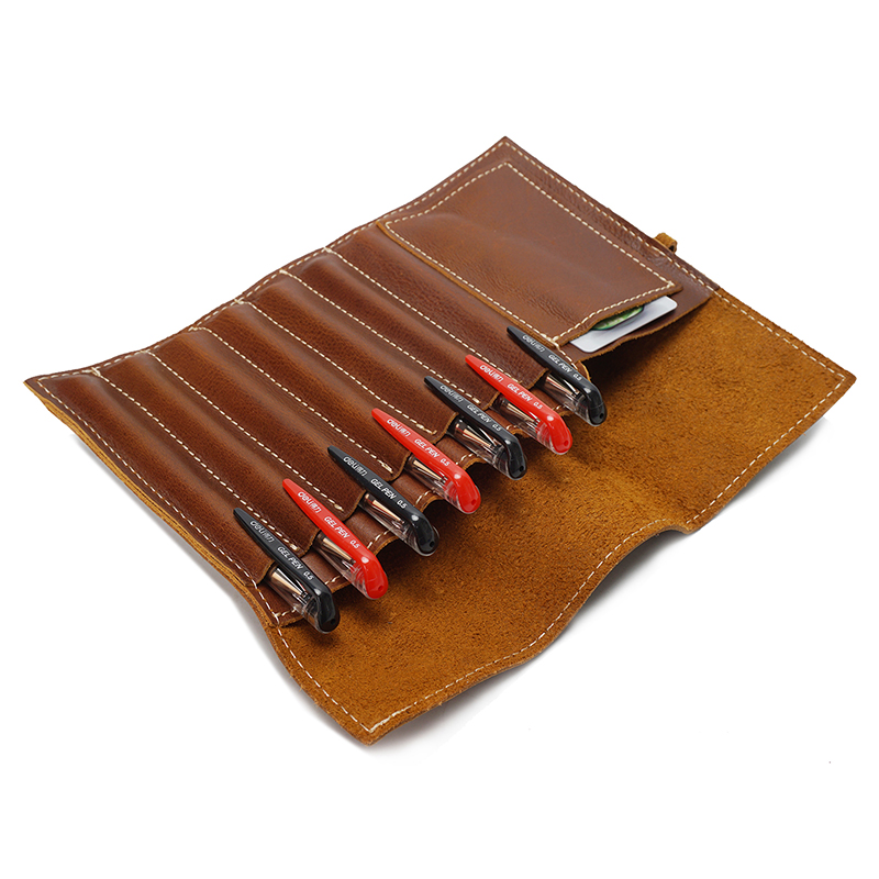 Real Leather Pen Holder Tool Bag Organizer LH2575_4 Colors