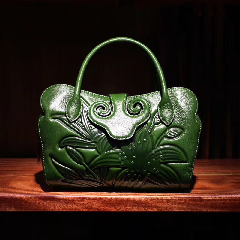 Floral Genuine Leather Tote LH2009B_3 Colors