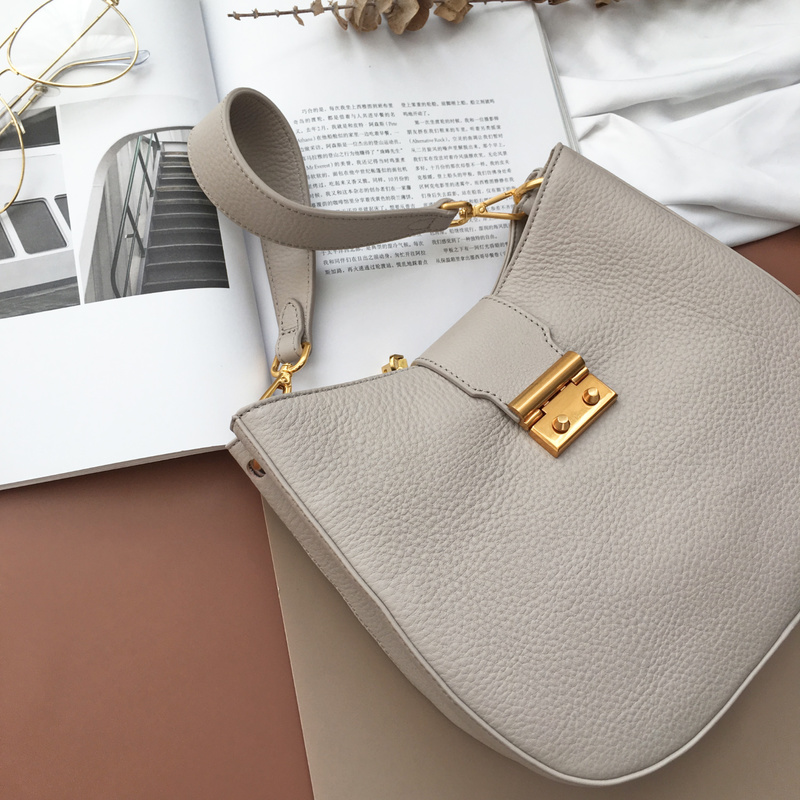Light Grey Supple Genuine Leather Hobo Bag for Women LH2722
