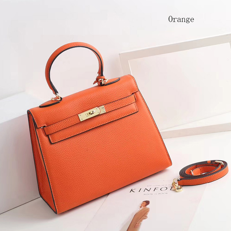 28cm Padlock Real Leather Satchel Bag Women Purse LH2740M_9 Colors