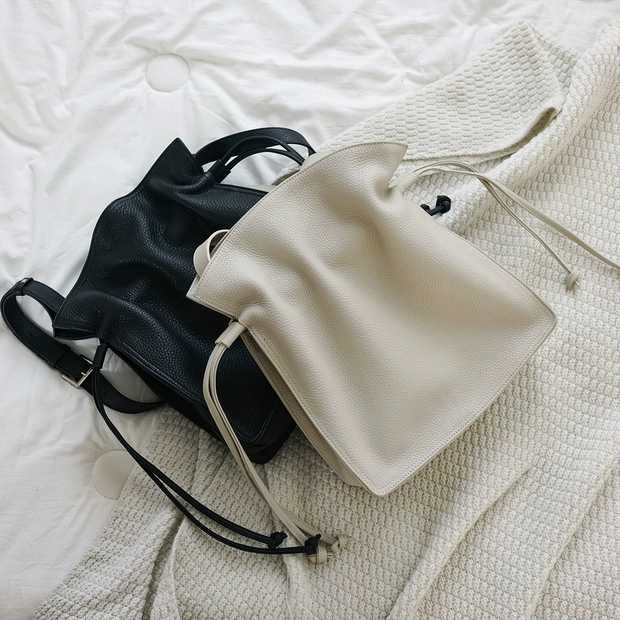 Drawstring Real Leather Purse Shoulder Bag for Women LH2768_2 Colors