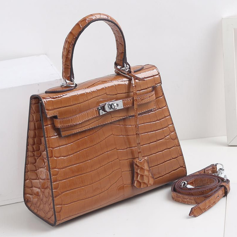 25cm Crocodile Pattern Real Leather Tote LH2792S_5 Colors
