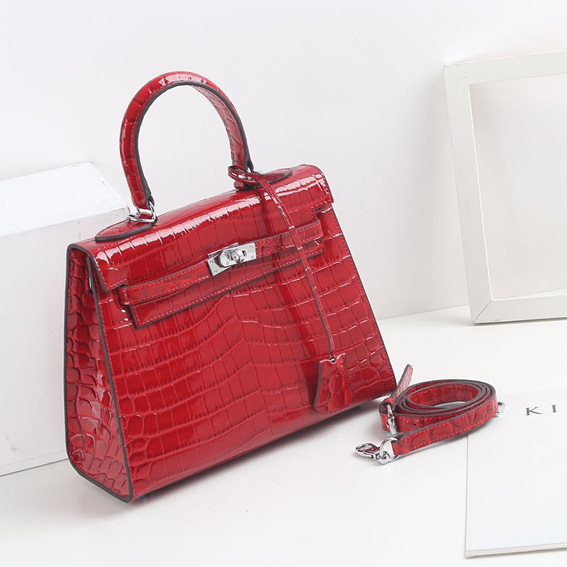 28cm Crocodile Pattern Real Leather Tote LH2792M_5 Colors