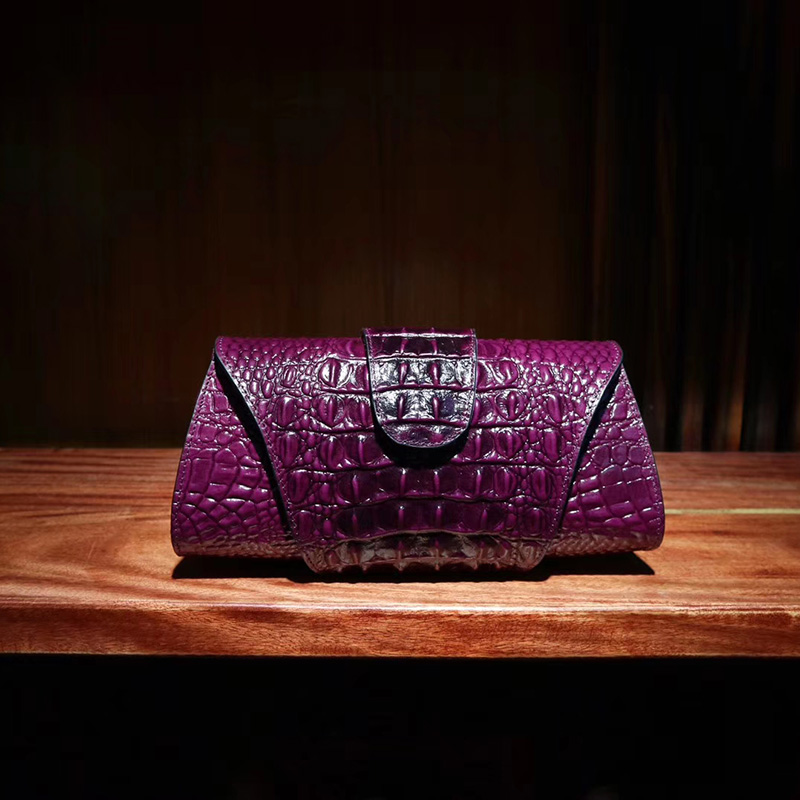 Luxury Crocodile Embossed Real Leather Clutch LH2456_5 Colors