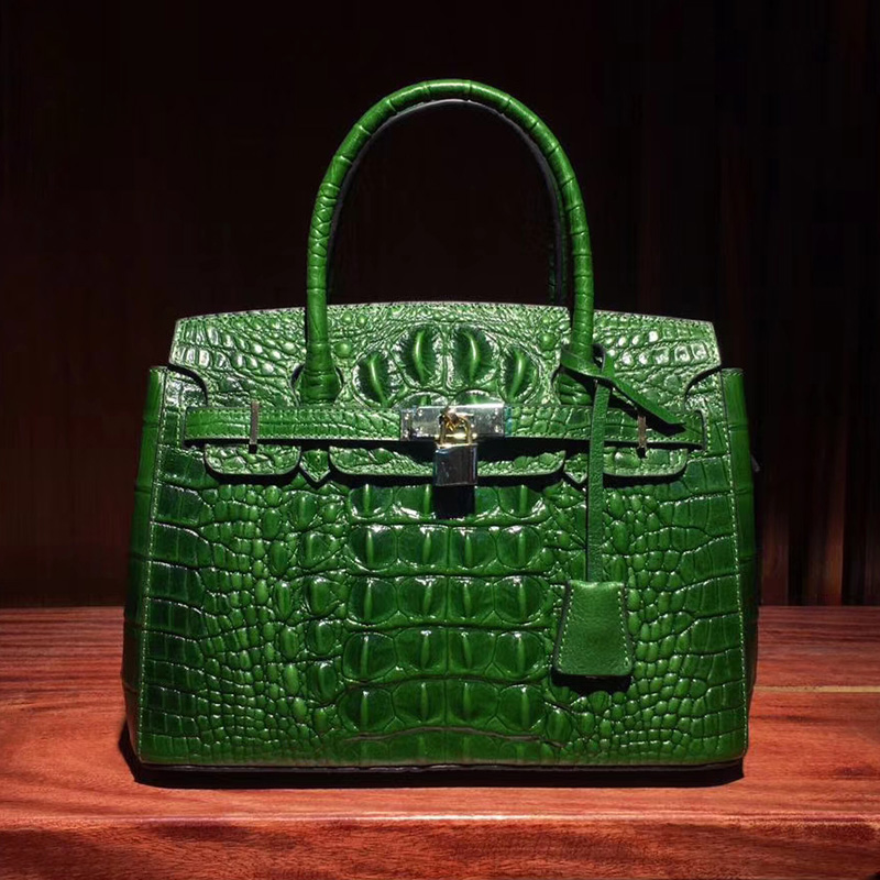 Padlock Crocodile Pattern Real Leather Tote LH1627M_5 Colors