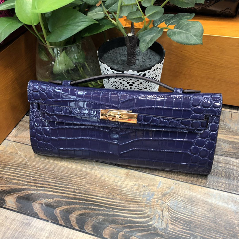 Luxury Crocodile Pattern Real Leather Clutch LH2795_3 Colors