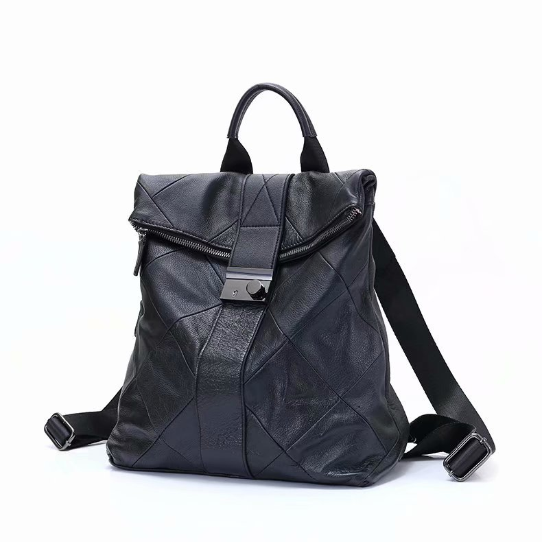 Stitching Real Leather Shoulder Backpack LH2805