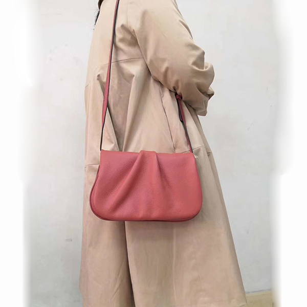 Ruching Real Leather Crossbody Bag LH2971_ 6 Colors