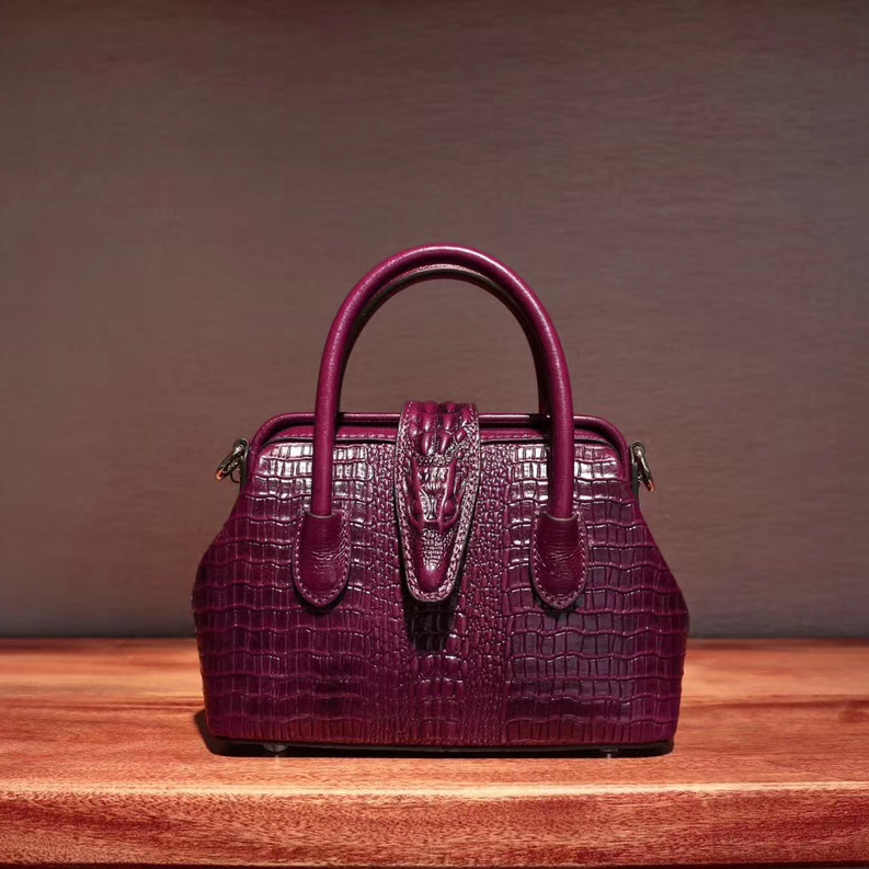 Frame Crocodile Pattern Real Leather Tote Mini Size LH2518Z_8 Colors