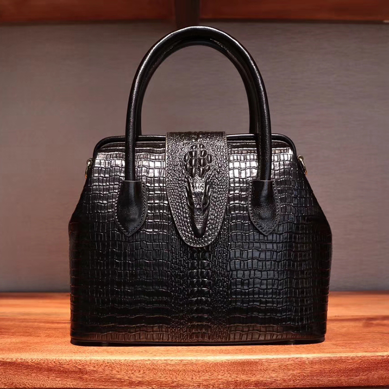 Frame Crocodile Pattern Real Leather Tote Small Size LH2518S_5 Colors