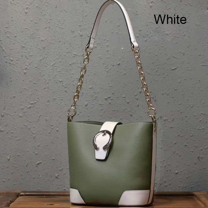 Leather Links Chain Real Leather Barrel Bag LH2982_4 Colors
