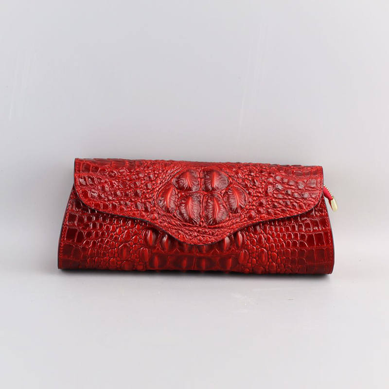 Crocodile Pattern Real Leather Clutch LH1761A_4 Colors