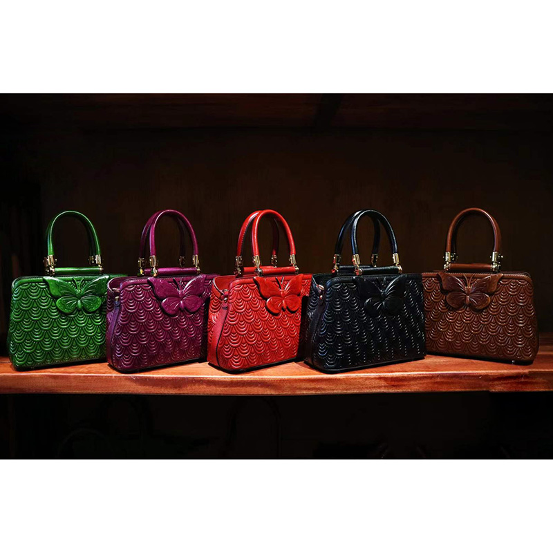 Womens Gorgeous Butterfly Leather Tote Bag 3109_4 Colors