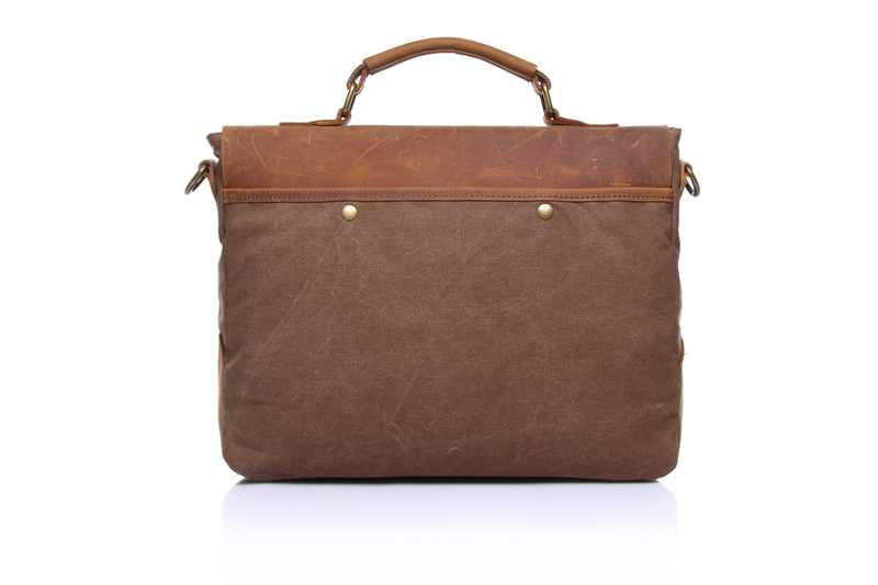 Brown Canvas & Leather Messenger Bag LH1602