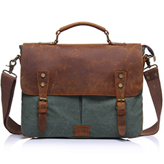 Dark Green Canvas & Leather Messenger Bag LH1602