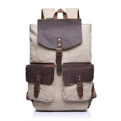 Beige Canvas & Leather Backpack LH1603
