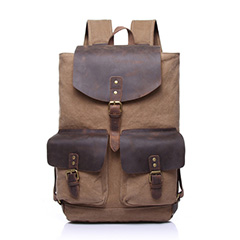 Brown Canvas & Leather Backpack LH1603