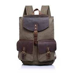 Khaki Canvas & Leather Backpack LH1603