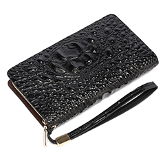 Black Crocodile Pattern Muti-zip Purse LH1477