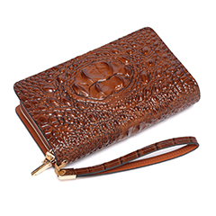 Brown Crocodile Pattern Muti-zip Purse LH1477