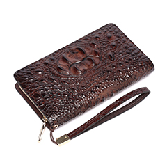 Coffee Crocodile Pattern Leather Purse LH1480