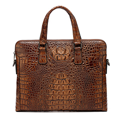 Brown Crocodile Pattern Formal Briefcase LH1476