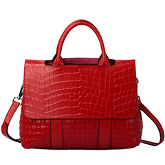 Red Crocodile Pattern leather Tote LH1650