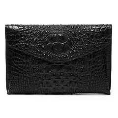 Coffee Crocodile Effect Leather Clutch LH1701