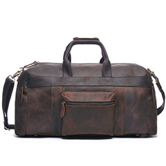 Dark Brown Pull-up Leather Traveling Bag LH1743