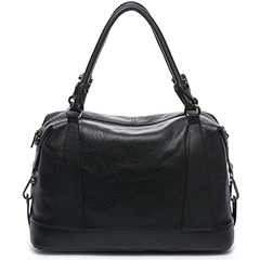 Black Supple Genuine Leather Handbag LH1726