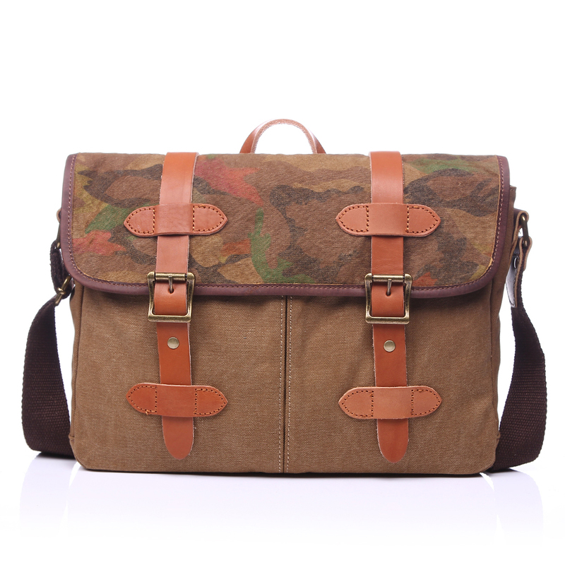 Battle Fatigues Canvas & Leather Messenger Bag LH1831B
