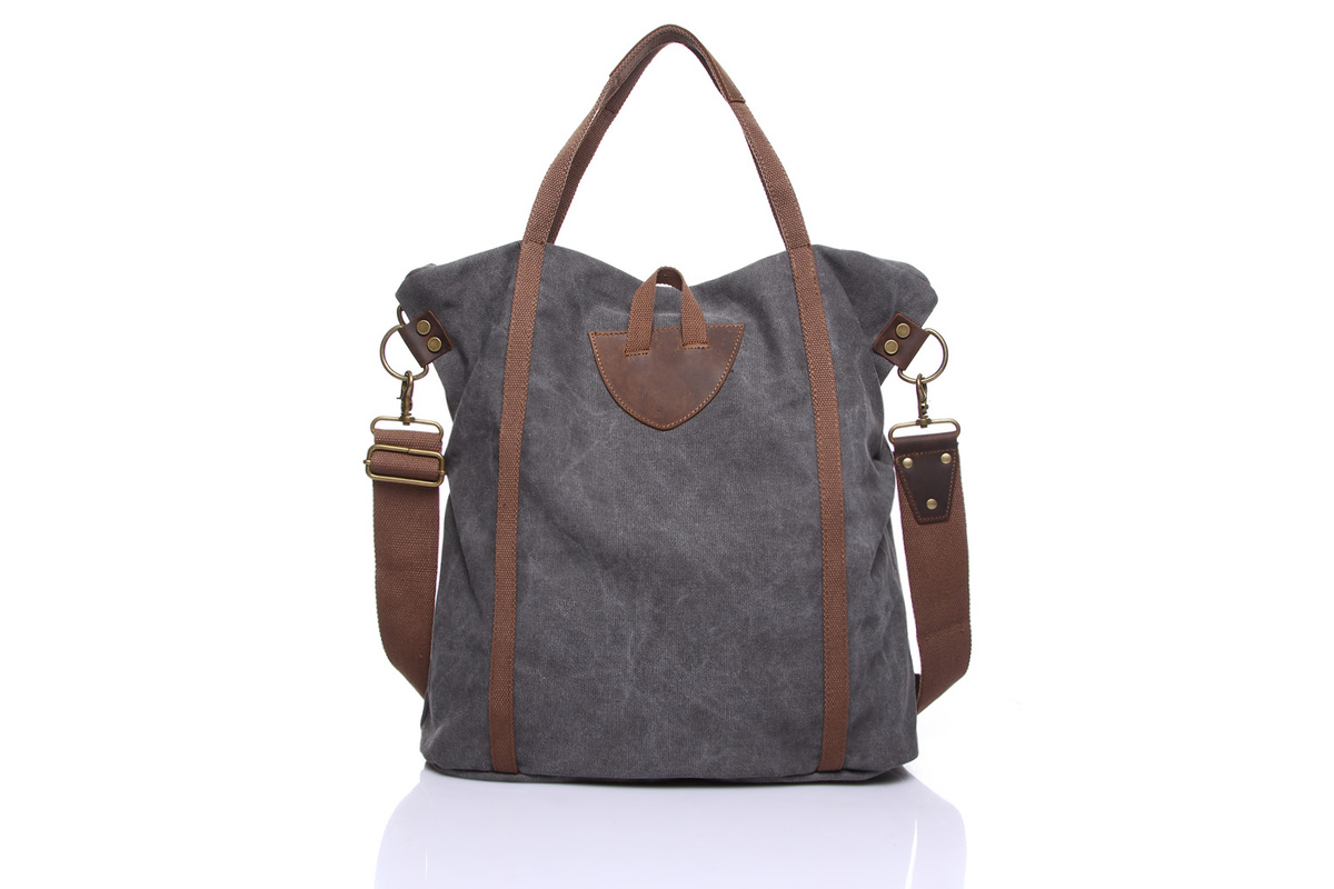 Vertical Practical Canvas & Leather Tote Bag LH1833_3 Colors