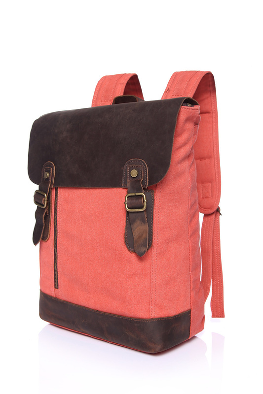 Zippered Pocket Canvas & Leather Backpack LH1836