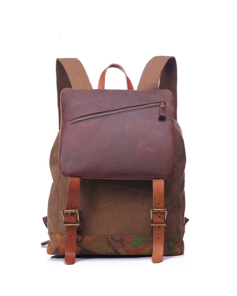 Flap Pocket Canvas & Leather Backpack LH1875_4 Colors