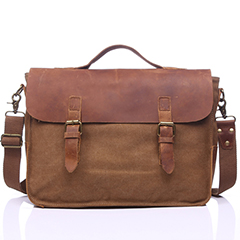 Flap Over Canvas & Leather Messenger Bag LH1879_3 Colors