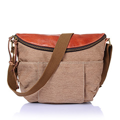 Zippered Pocket Canvas & Leather Cross Body Bag LH1893_3 Colors