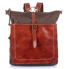 Pouch Canvas & Leather Backpack LH1896_3 Colors