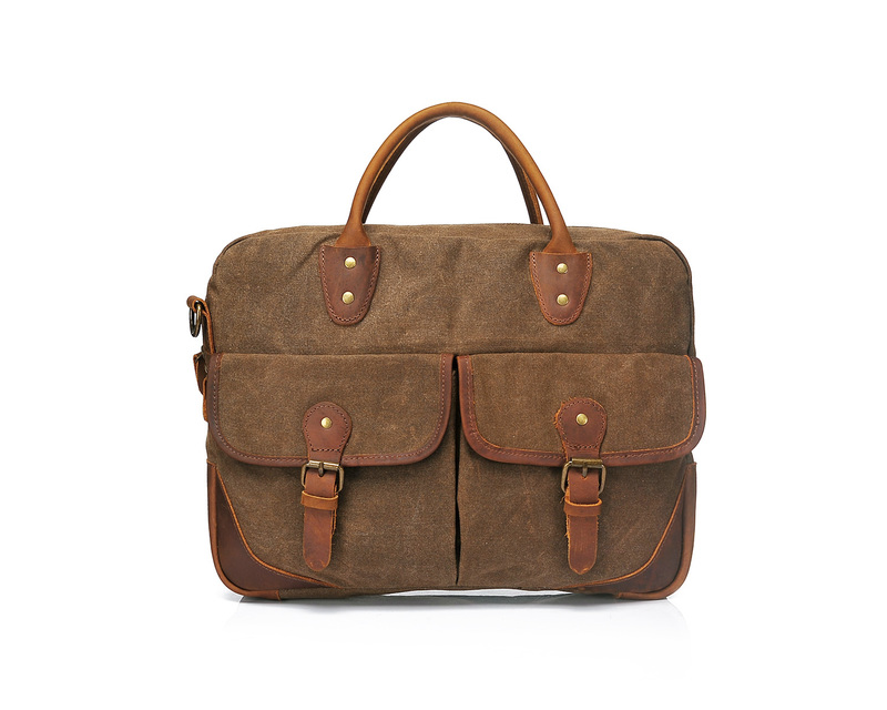 Pockets Canvas & Leather Laptop Bag LH1900_3 Colors