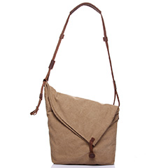 Irregular Canvas & Leather Shoulder Bag LH1834 _5 Colors