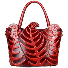 Leaf Pattern Real Leather Tote LH1924_2 Colors