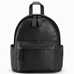 Black Cute Pockets Real Leather Backpack LH2039