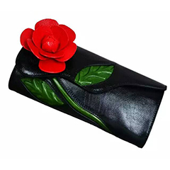 Flower Pattern Genuine Leather Purse LH2070_3 Colors