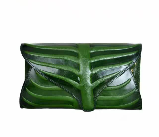 Leaf Pattern Genuine Leather Purse LH2073_4 Colors