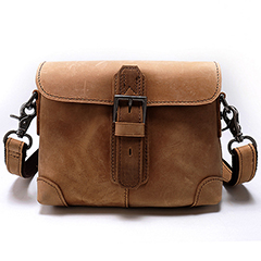 Push Lock Genuine Leather Messenger Bag LH2146